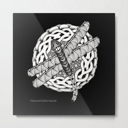 Zentangle Dragonfly Black and White Illustration Metal Print