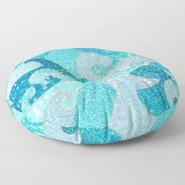 Mermaid Waves And Sea Faux Glitter - Sun Light Over The Ocean Floor Pillow