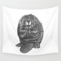 beaver Wall Tapestries featuring Beaver by Nasir Nadzir