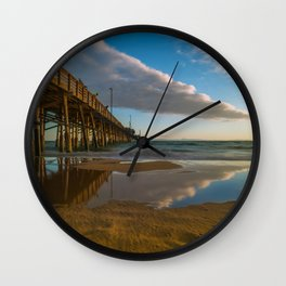Sunset Cloud Reflections at Newport Pier Wall Clock