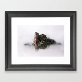 Fantasy Floating Mountain Framed Art Print
