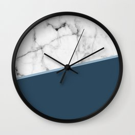 Real White Marble Half Ocean Sapphire Steel Blue Wall Clock