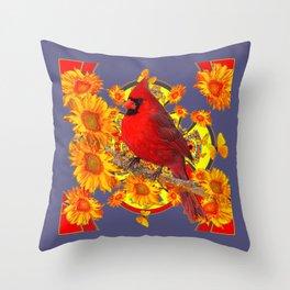 GOLDEN SUNFLOWERS RED CARDINAL GREY ART Throw Pillow