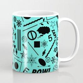 Bits And Pieces On Cyan Blue Coffee Mug