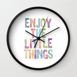 Enjoy the Little Things Watercolor Rainbow Design Inspirational Quote bedroom Wall Art Home Decor Wall Clock
