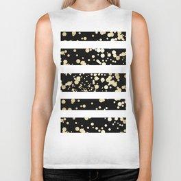 Stylish black and white faux gold confetti stripe Biker Tank