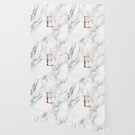 Monogram rose gold marble E Wallpaper