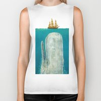 adventure is out there Biker Tanks featuring The Whale  by Terry Fan