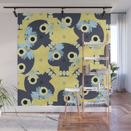 Cute pattern with funny skulls and yellow flowers Wall Mural