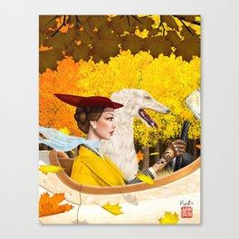 Autumn Drive with Borzoi Canvas Print