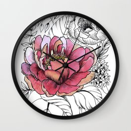 Painted Peony Garden Wall Clock