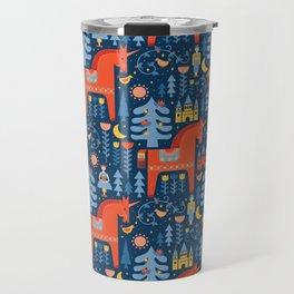 Scandivian Fairytale in Blue Travel Mug