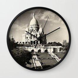 Vintage Sacré-Coeur de Montmartre in Paris Photo Wall Clock