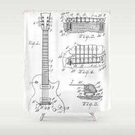 Gibson Guitar Patent - Les Paul Guitar Art - Black And White Shower Curtain