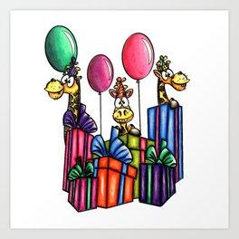 IMAGE #163 - BIRTHDAY GIRAFFES Digital Stamp by Sasayaki Glitter digital stamps- Naz- Art Print