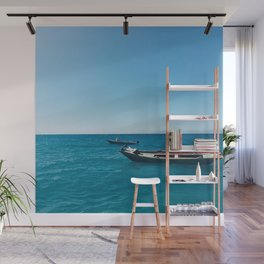 Stationed in Blue Wall Mural