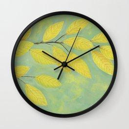 Yellow Fall Leaves Wall Clock