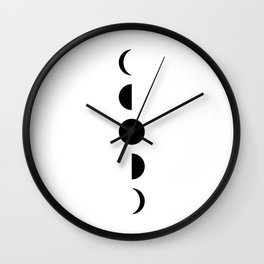 MOON VIBES - Phases of the moon in black & white Wall Clock