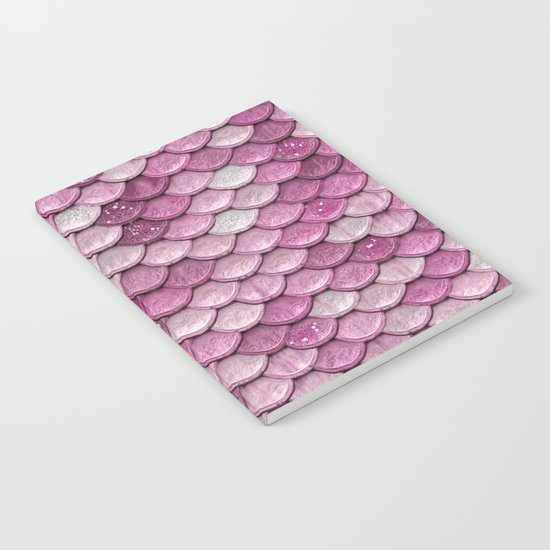 Light Pink Glitter mermaid sparkling scales Notebook