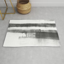 "Black and White Minimalist Geometric Abstract Painting ""Structure 2"" Rug"