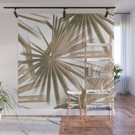 Brown on White Tropical Vibes Beach Palmtree Vector Wall Mural