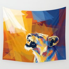In the Sunlight - Lion portrait, animal digital art Wall Tapestry