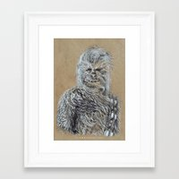 chewbacca Framed Art Prints featuring Chewbacca by liam nicholson