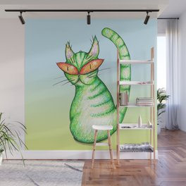 Funny green cat Wall Mural