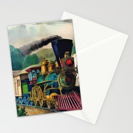 1870 Currier & Ives Steam Locomotive - The Express Train Lithograph Stationery Cards
