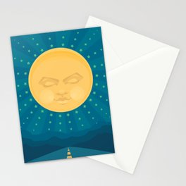 Moon over Mountains Stationery Cards