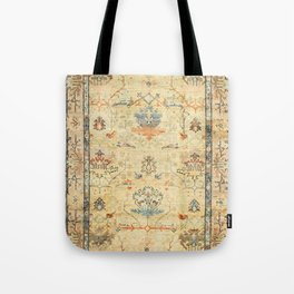 Fine Crafted Old Century Authentic Colorful Yellow Dusty Blues Greys Vintage Rug Pattern Tote Bag