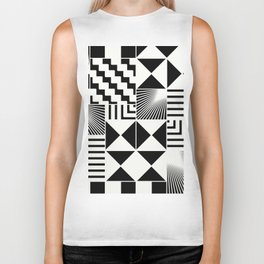 Mosaic Black And White Pattern Biker Tank