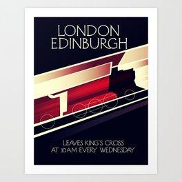 London Edinburgh Locomotive vintage style poster Art Print
