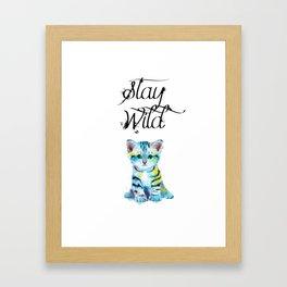 Stay Wild - kitten illustration Framed Art Print