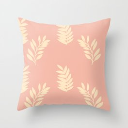 Cassie Simples Pink Leaves Throw Pillow
