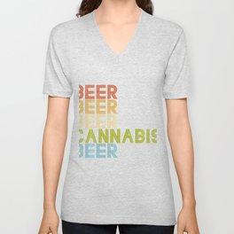 Beer Cannabis Drinking Retro Weed Marijuana 420 Stoner Gift Unisex V-Neck