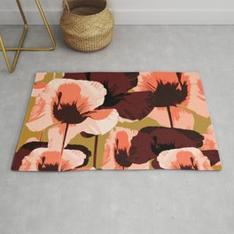 Coral and Brown Color Poppies on Dark Yellow Background #decor #society6 #buyart Rug