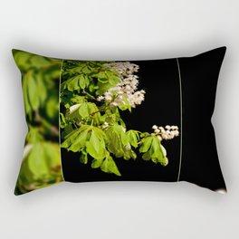 blooming Aesculus tree on black Rectangular Pillow