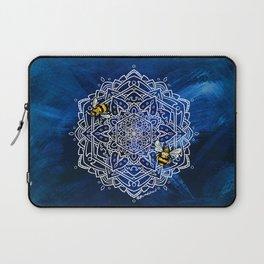 Bee Dance Mandala A - Textured Indigo Laptop Sleeve