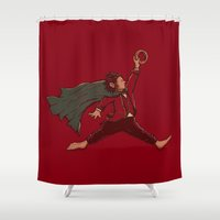 air jordan Shower Curtains featuring Air Frodo by Taylor Rose