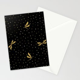Gold Dragonfly Christmas seamless pattern and Gold Confetti on Black Background Stationery Cards