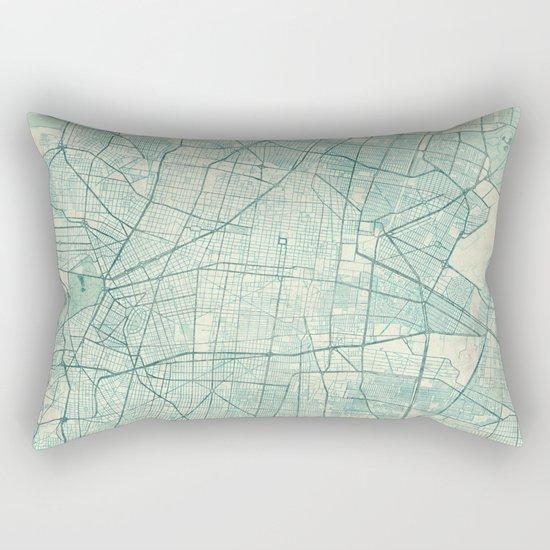 Mexico City Map Blue Vintage Rectangular Pillow