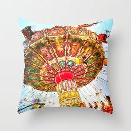 Vintage, retro carnival swing ride photo Throw Pillow