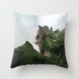 Foggy mountain ridge in Switzerland - Landscape Photography Throw Pillow