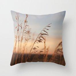 Wheat Field Sunset Photography Print Throw Pillow