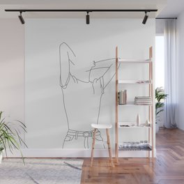 Fashion illustration line drawing - Tara Wall Mural