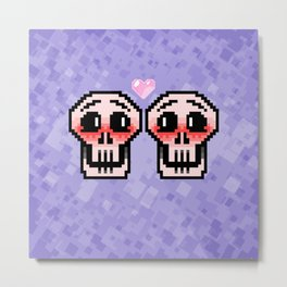 Skeletons in Love Metal Print