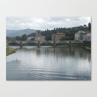 rowing Canvas Prints featuring Rowing towards the bridge by Matthew Booth