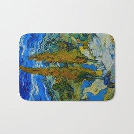 Vincent Van Gogh Beautiful Night Oil Painting Poplars at Saint-Rémy, October 1889 Landscape Bath Mat
