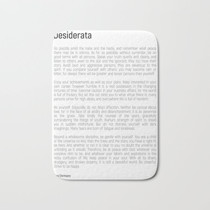 Desiderata #minimalism Bath Mat